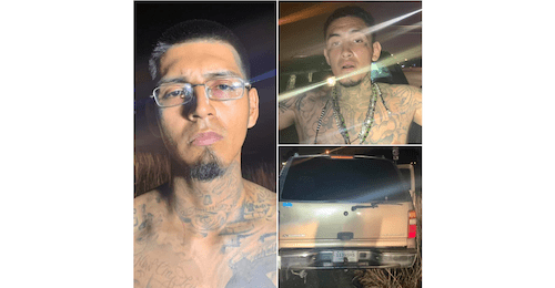 ID #21-283 Adrian Zuniga and ID #21-284 Michael Flores and suspect vehicle