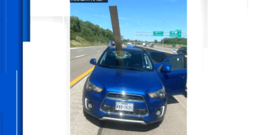 Wooden Board Flies Off Truck and Impales Windshield Caught on Camera