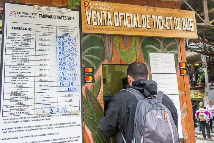 Venda de bilhetes de ônibus Águas Calientes para Machu Picchu