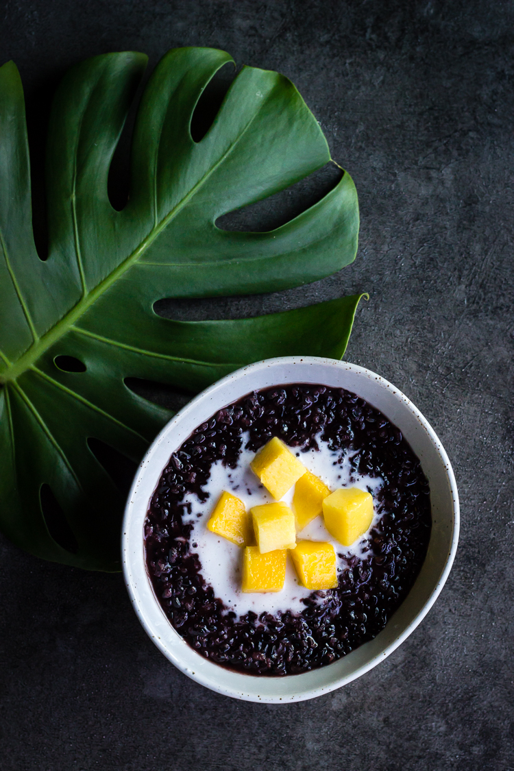 black rice with mango and coconut cream