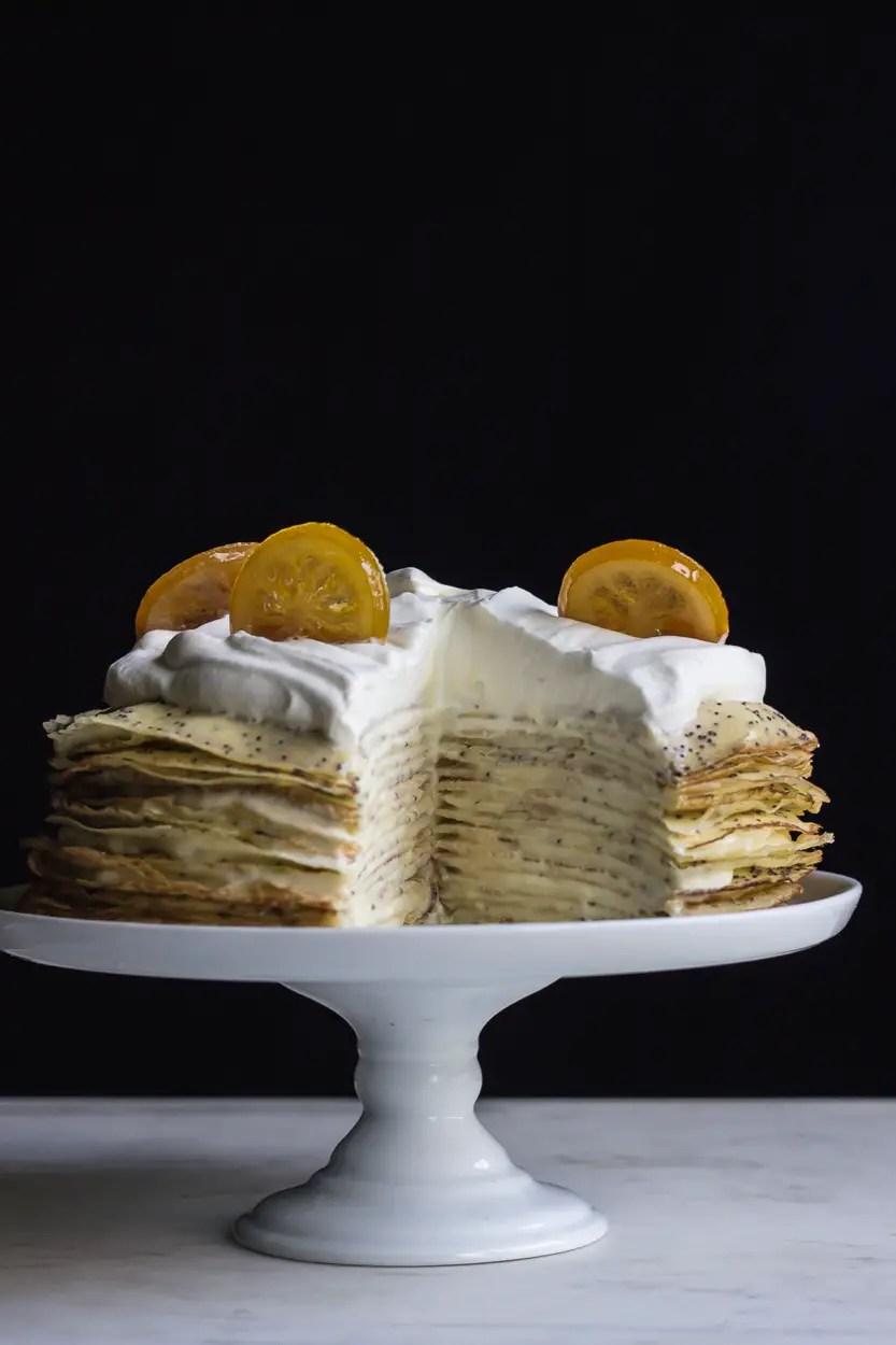 LEMON POPPY SEED CREPE CAKE