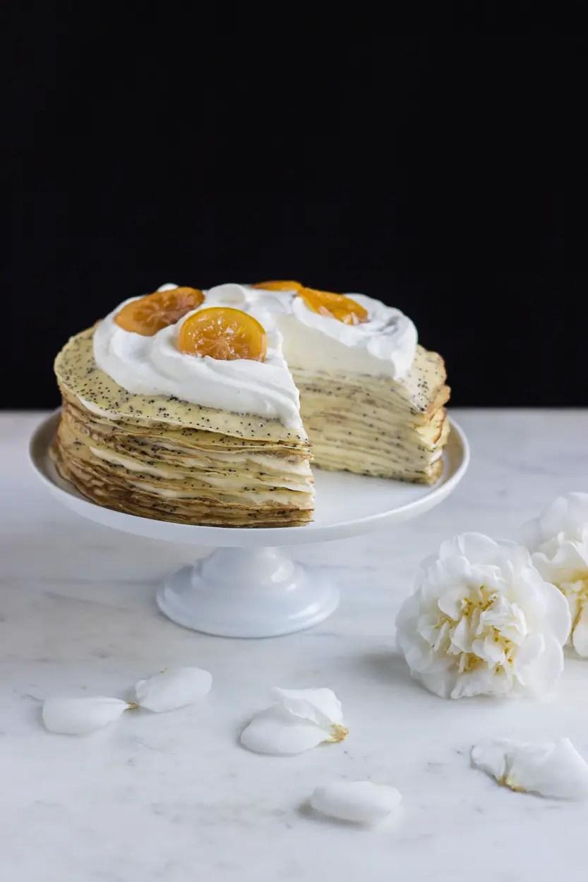 Lemon Poppy Seed Crepe Cake Ful Filled