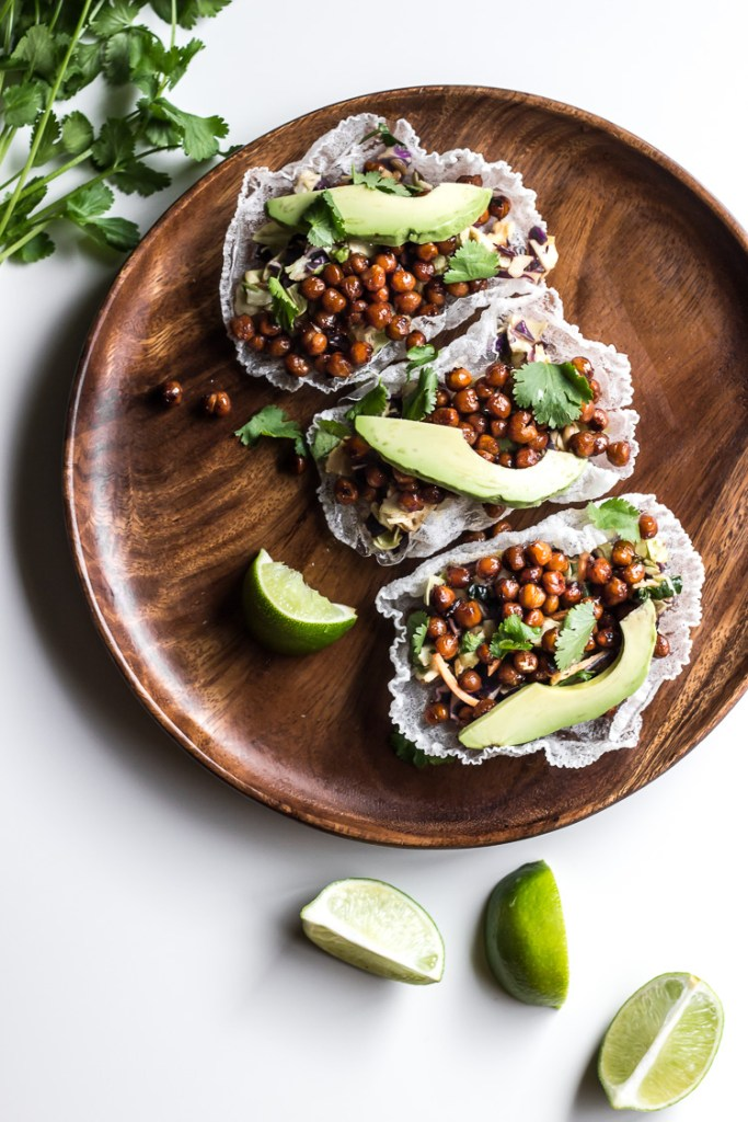 asian chickpea rice paper tacos