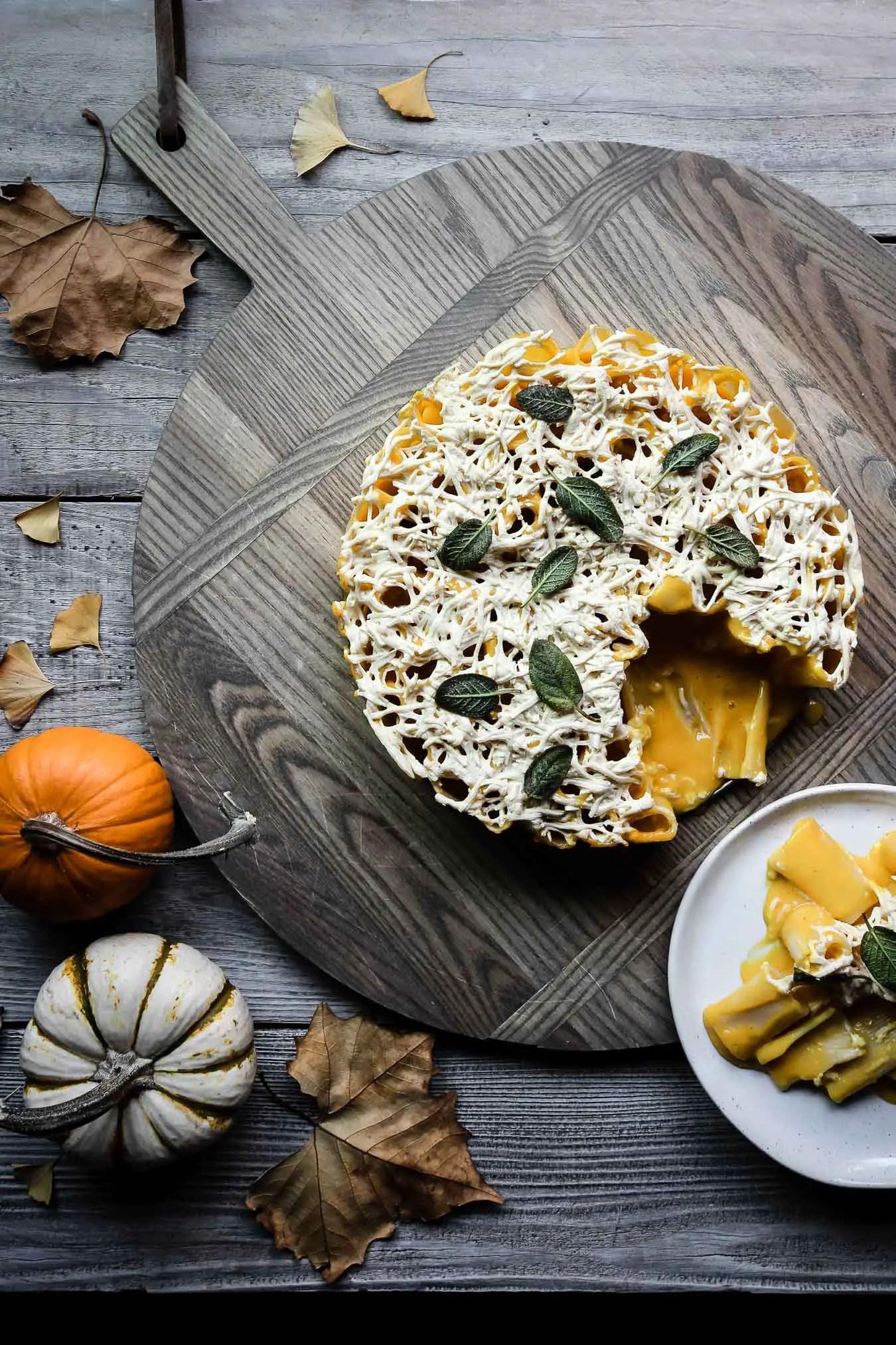 vegan cheesy pumpkin rigatoni pie