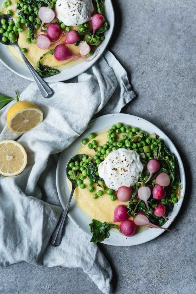 lemony polenta with peas, radishes & yogurt