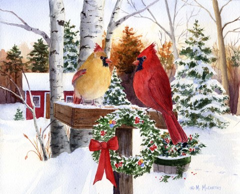 Christmas Cardinals Fine Art Print By Maureen Mccarthy At