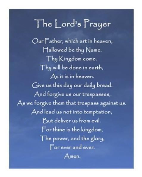 Framed Lord's Prayer - Blue Sky Print