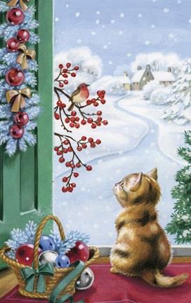 Christmas Kitten Watching Bird And Berries Fine Art Print