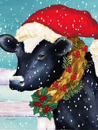 Christmas Cow Fine Art Print By Laurie Korsgaden At