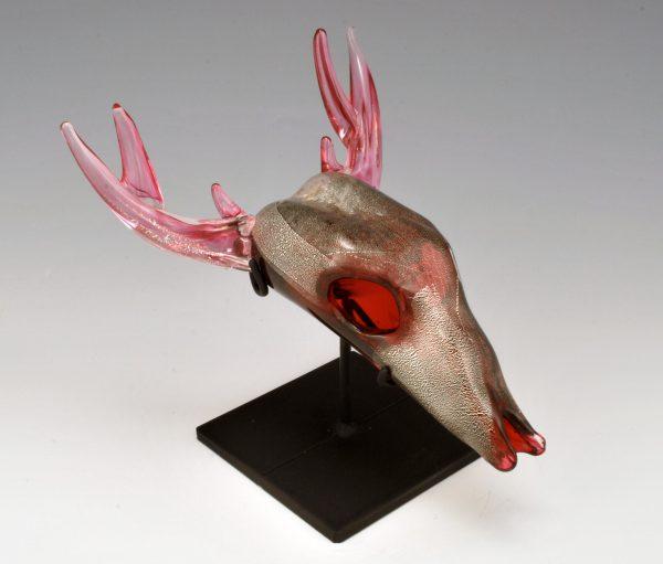 Ruby Silver Deer Skull