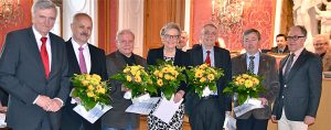 Oberbürgermeister Gerhard Möller, Walter Krah, Hans-Joachim Tritschler, Margarete Hartmann, Lothar Plappert, Peter Makowka, stellvertretender Stadtverordnetenvorsteher.