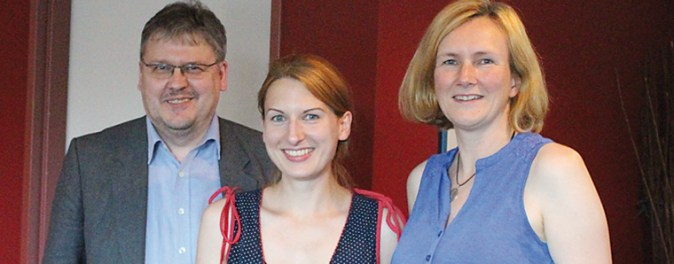 Ralf Zwengel (Kreisvorstandssprecher), Nicole Maisch (MdB) und Silvia Junker-Hoffmann (Kreisvorstandssprecherin). (v.l.)