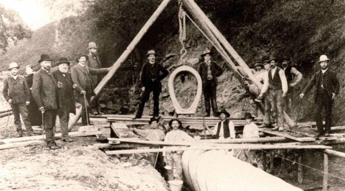 Bau der Rhönleitung, 1890. Foto: Stadtarchiv Fulda
