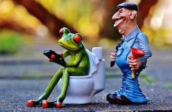 A plumber and a frog sitting on toilet