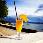And here was the reward at restaurant Papaja in Denovici afterwards - a freshly squeezed OJ in the sun