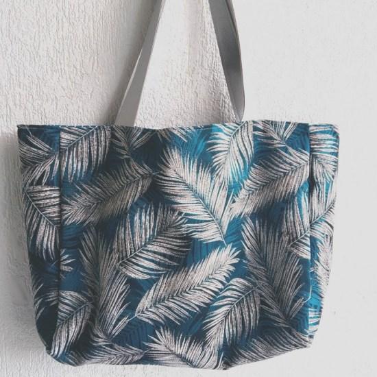 cabas plage palmier bleu