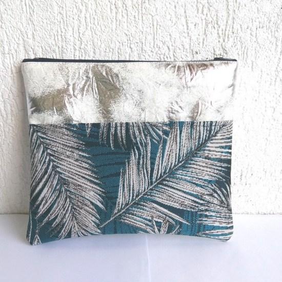 trousse argent feuilles de palmier