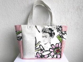 sac cabas frida blanc rose