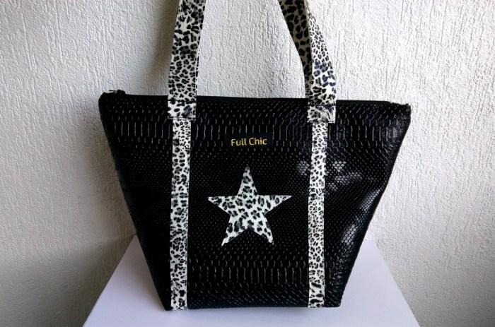 sac trapeze noir et leopard