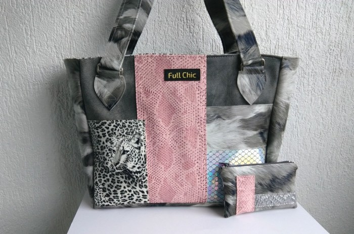 duo sac patchwork leopard gris rose