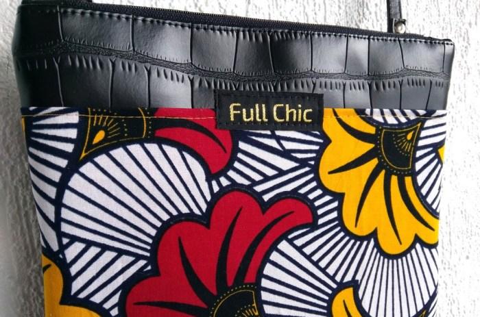 pochette wax fleurs rouge jaune zoom