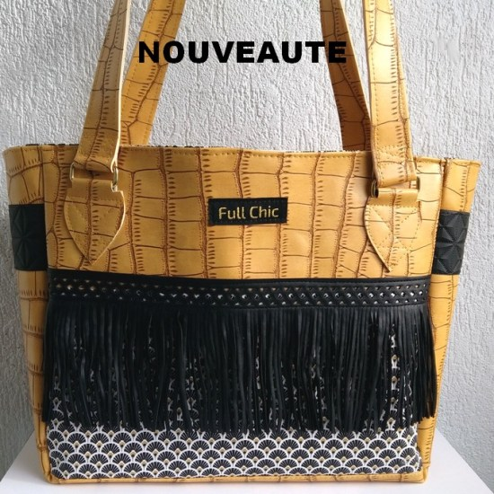 sac ocre frange eventails