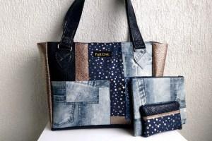 trio sac patch bleu doré