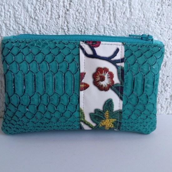 porte monnaie turquoise fleurs