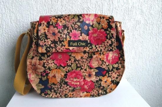 sac besace liege fleurs multicolore