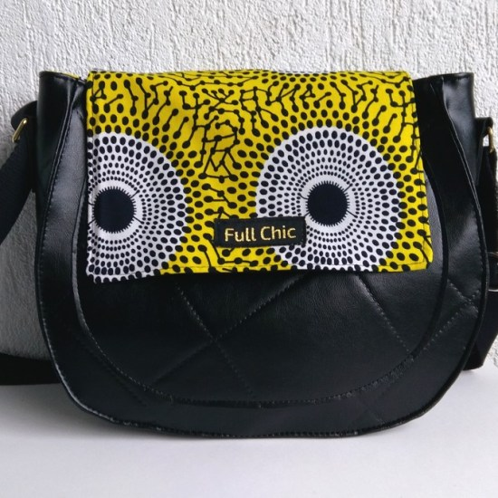 sac besace noir wax jaune