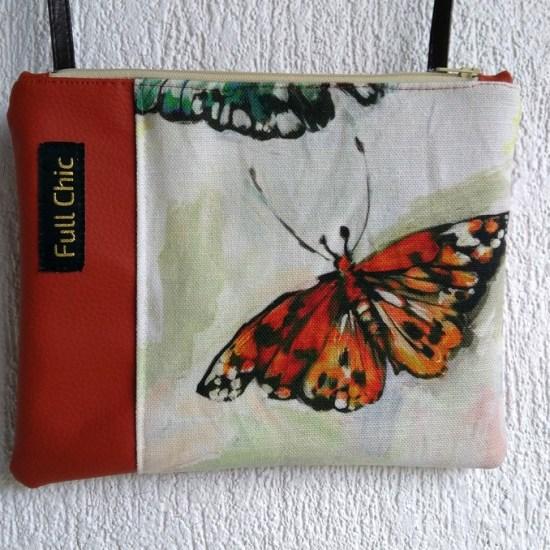 pochette orange papillon