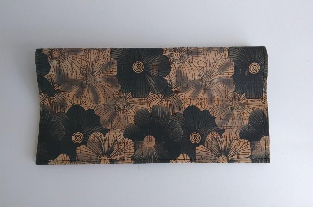 Porte-chéquier liège fleurs noires