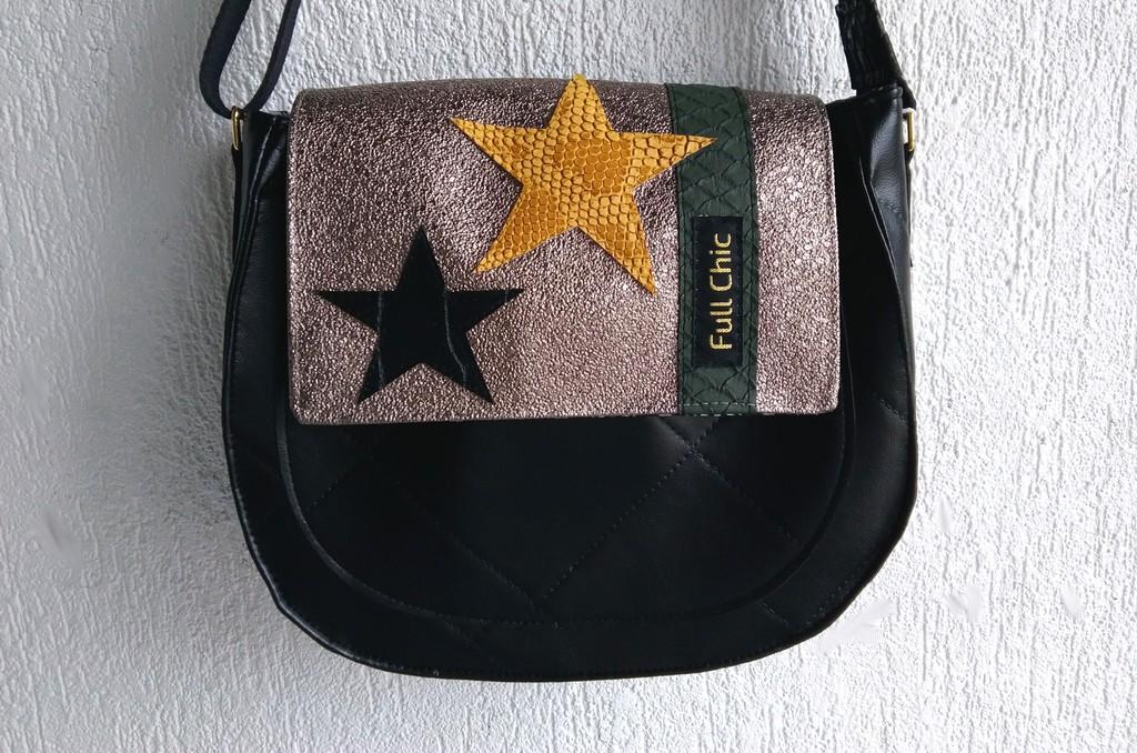 Besace noire dorée étoiles