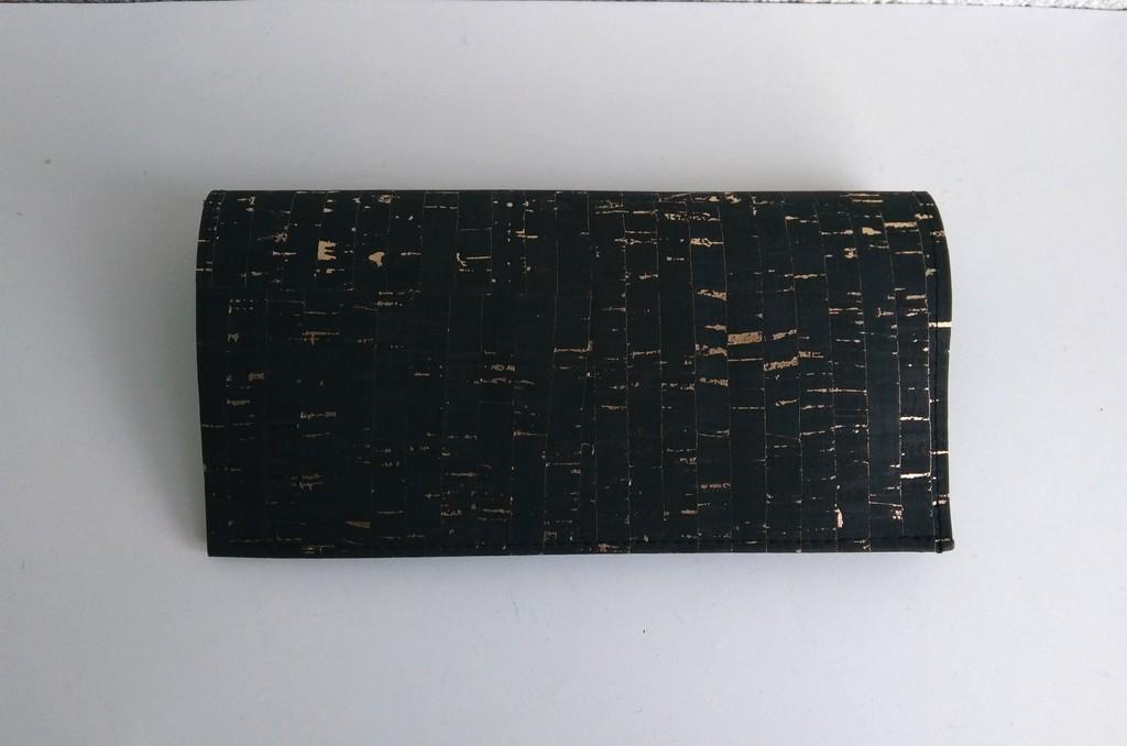 Porte-chéquier liège noir doré