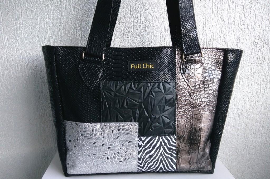 Sac patchwork noir gris argent