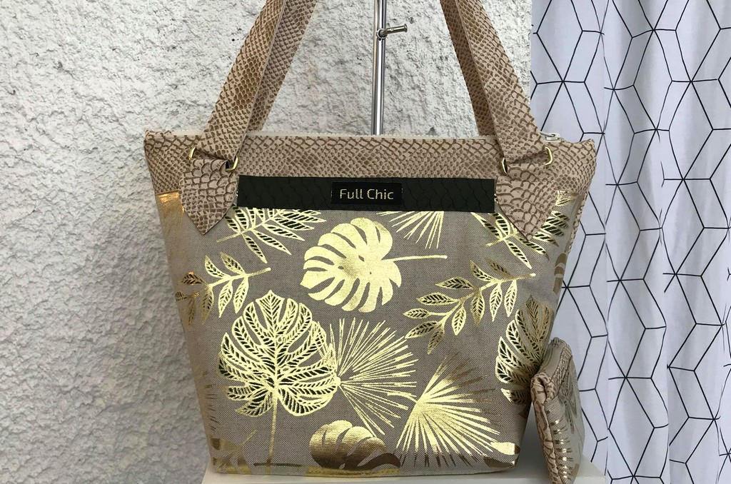 sac creme feuilles dorées