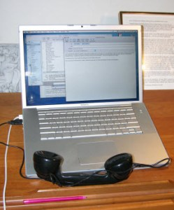 Steve Crandall\'s old Western Electric handset updated with a modern speaker and microphone.  There is a switchable bluetooth/usb link to the MacBook Pro.  Charging is done using a usb connection.  Built 2005.