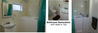 Bathroom renovation with walk-in tub