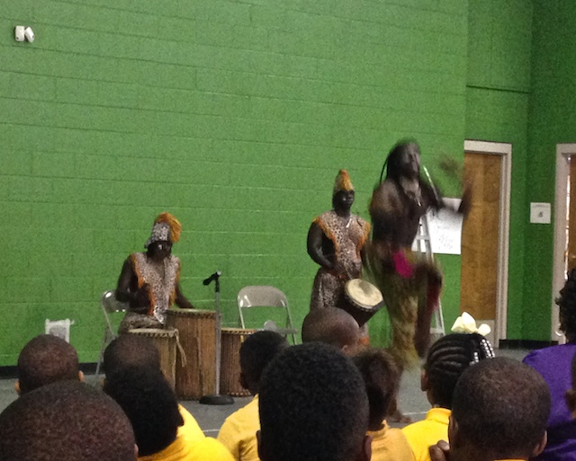 The African Drummers and Dancers at the ABC Elementary School.