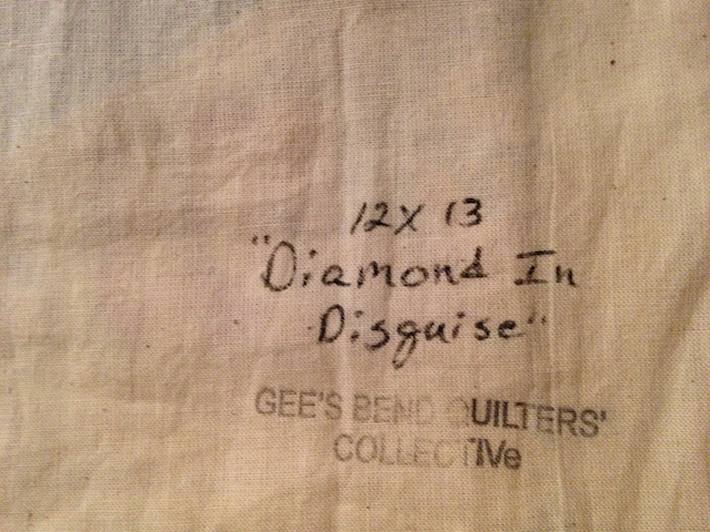 The size, title and Gee's Bend Stamp