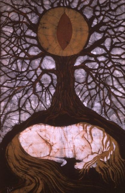 Horse Sleeping Below Tree of Rebirth By Carol Law Conklin