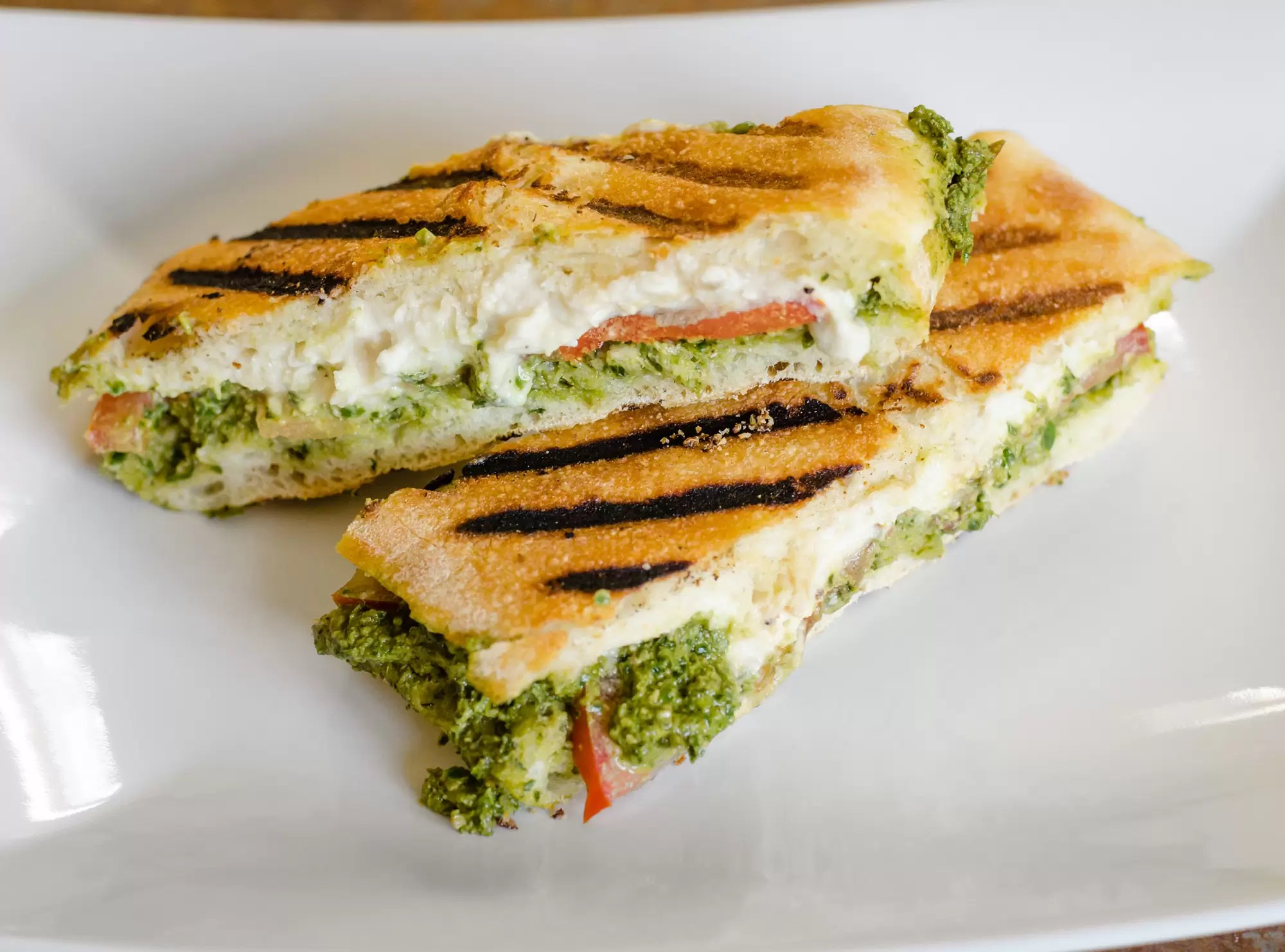 Vegan Pesto Panini Sandwich