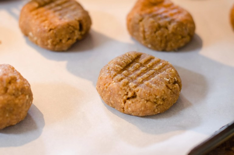 Vegan peanut butter cookies, ready for the oven
