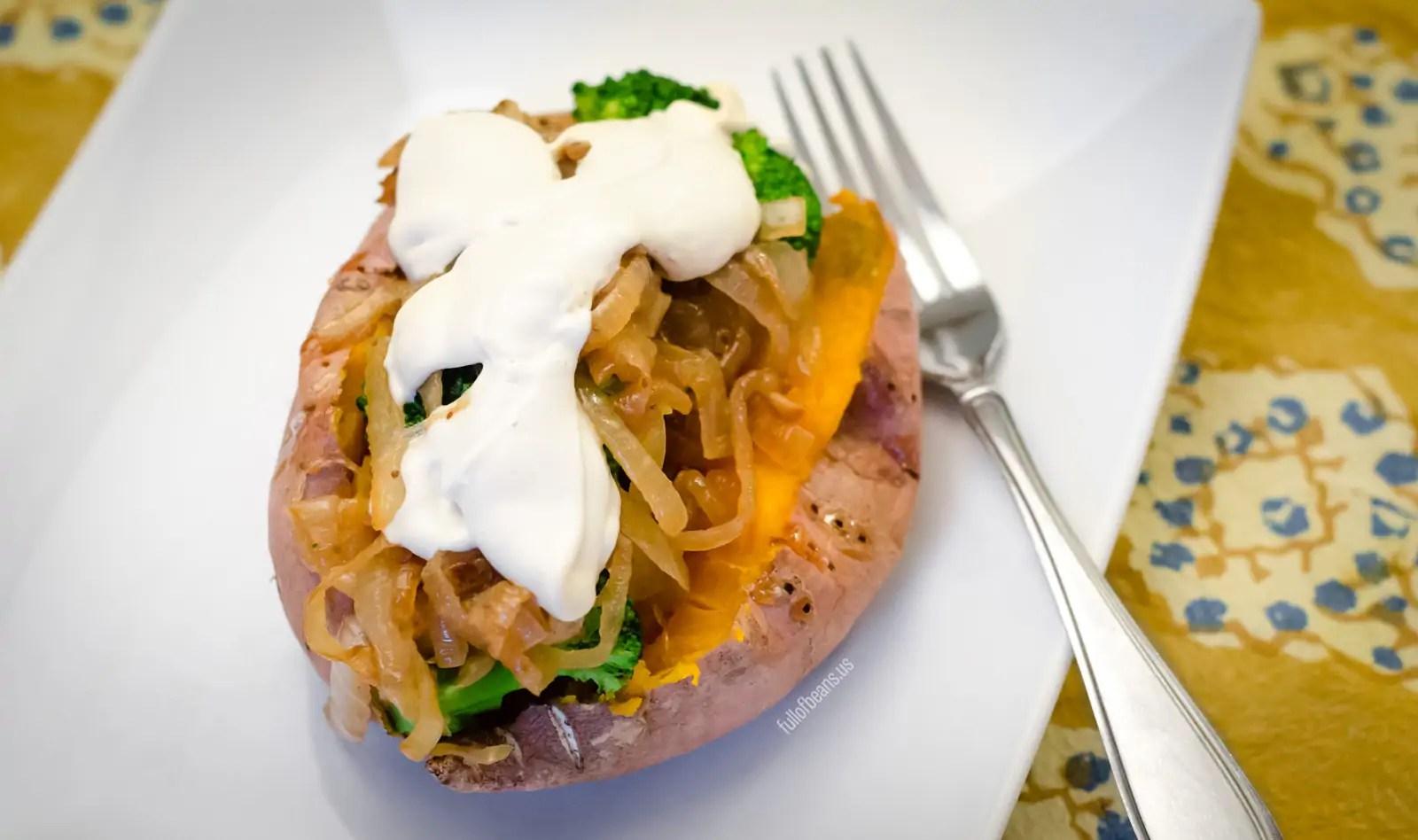 Caramelized Onion And Broccoli Stuffed Sweet Potatoes