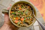 Delicious quick and easy vegan lentil soup with rice