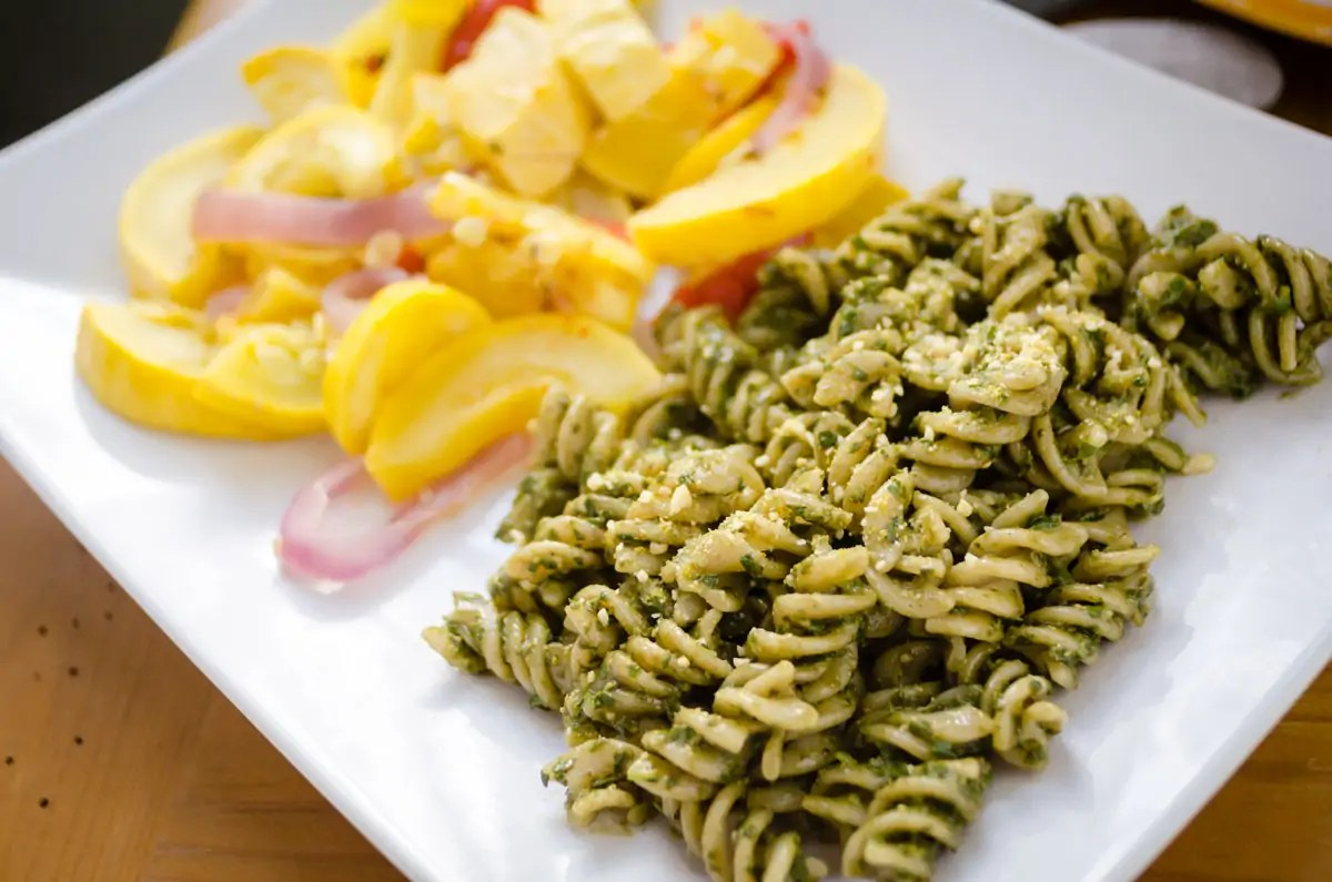 No Compromise Pesto On Pasta With Veggies