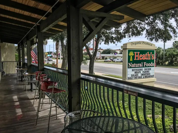 Outdoor dining area at Heath's Natural Foods