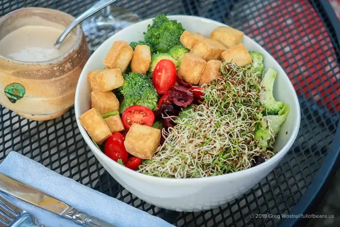 Green Salad with sprouts and fried tofu