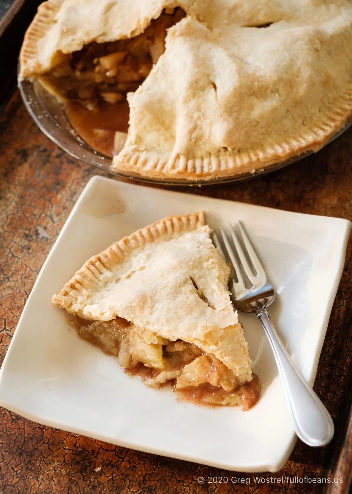 Vegan Apple Pie slice on a plate