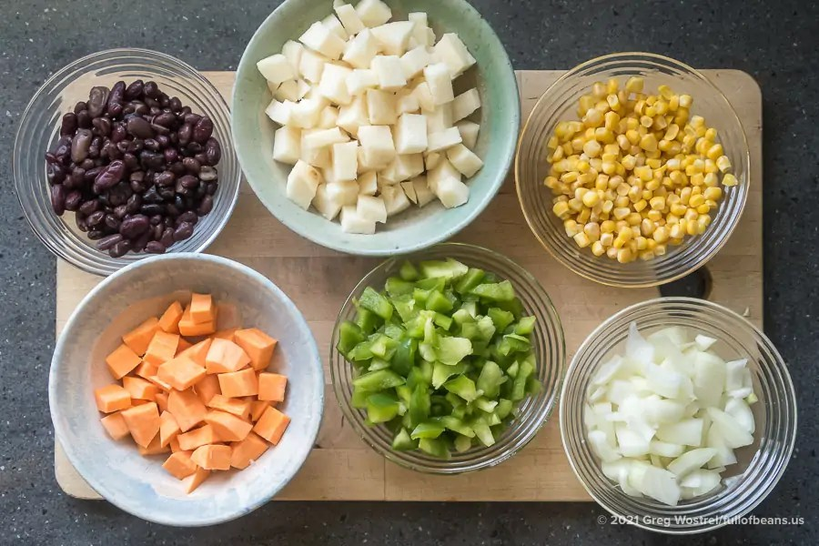 ingredients for Vegan Mexican Soup on a cutting board